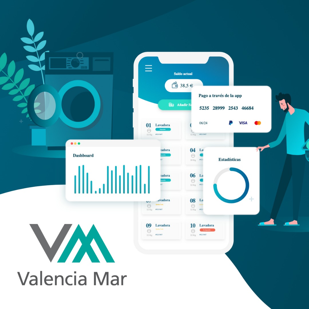 Payment by App at the washing machines of Valencia Mar 0